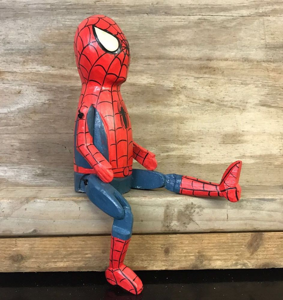 Spiderman Comic Book Hero Puppet Hand Carved Wooden Sitting Ornament - MEDIUM